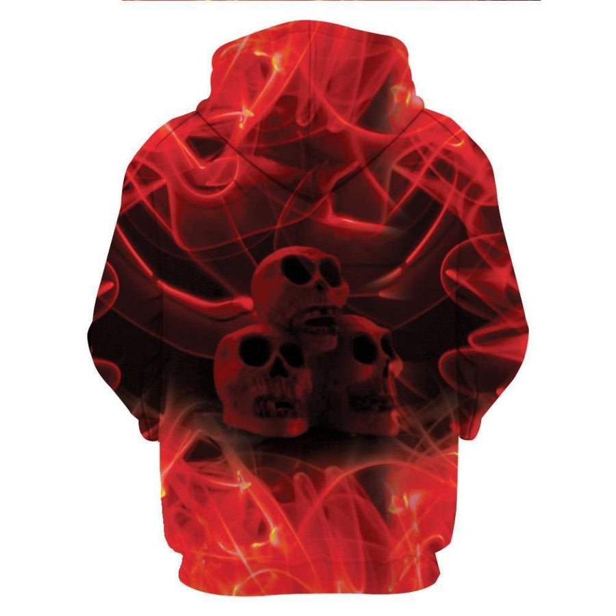 3D Dragon & Skull Hoodie, Polyester/Spandex, Red/Black