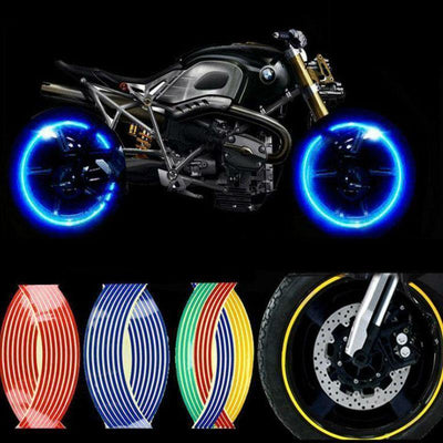 Wheel Hub Decal Sticker Reflective Stripes for 16/17/18 in Motorcycle & Car Rims