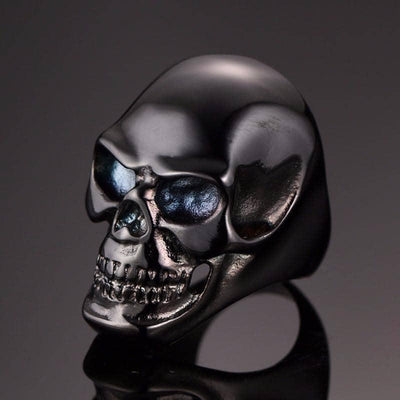 Stainless Steel Premium Skull Biker Ring, Black