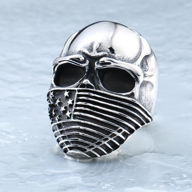 Stainless Steel Men's American Flag Skull Ring, Silver Color