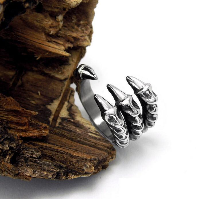 Stainless Steel Dragon Claw Biker Ring, Unisex, Size US 7-12