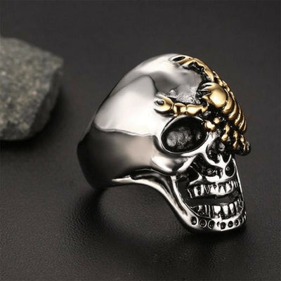 Men's Stainless Steel Punk Rock Silver Skull & Gold Scorpion Ring, Size 8-13, 1.1 in