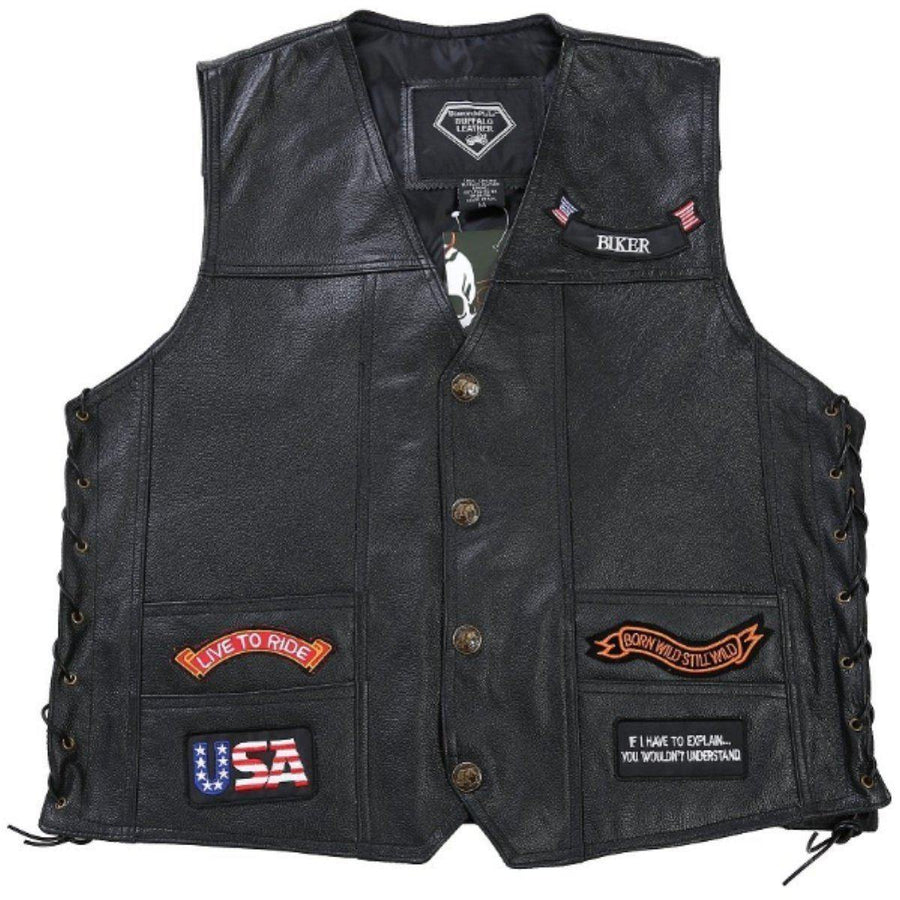 Badass Leather Bikers Side Lace Vest w/14 Patches, Black