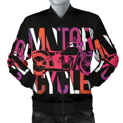 Men's Motorcycle Obsession Bomber Jacket, Polyester, S-4XL, Black with Colorful Letter & Motorcycle print