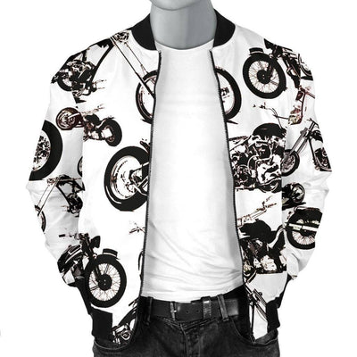 Men's Vector Bomber Motorcycle Jacket, Polyester, S-4XL, White with Black Motorcycle Print