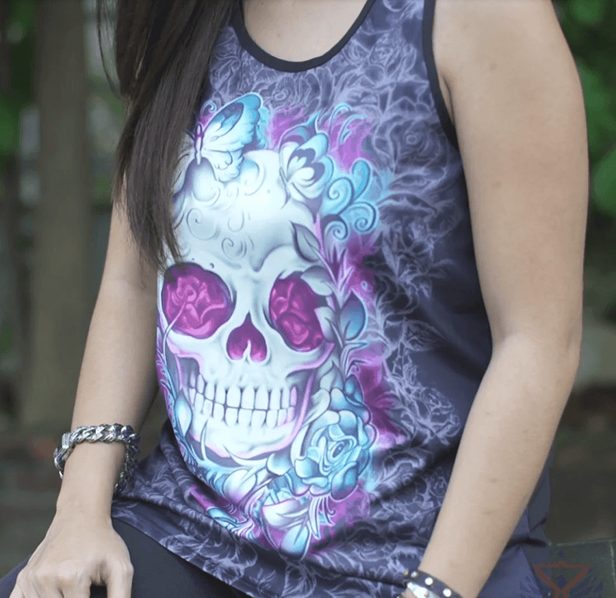 Women's Skull Tank Top, Polyester/Spandex, Black with Human Skull Print