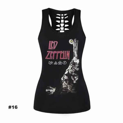 Women's Skull Tank Top, Polyester/Spandex, S-XL, Black with Human Skull Print