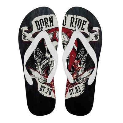 """Born To Ride"" Flip Flops, EVA Sole, Unisex, S-L, Black with Skull Print, White, Black Strap"