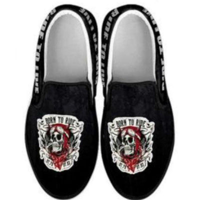Skull Born to Ride, Ride to Live Slip-On Shoes for Him & Her, Canvas, Black