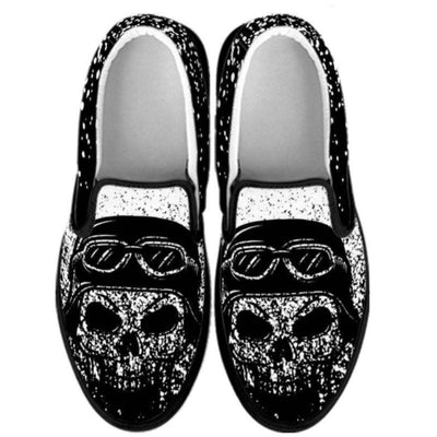 Skull Slip-On Shoes for Him & Her, Black/White
