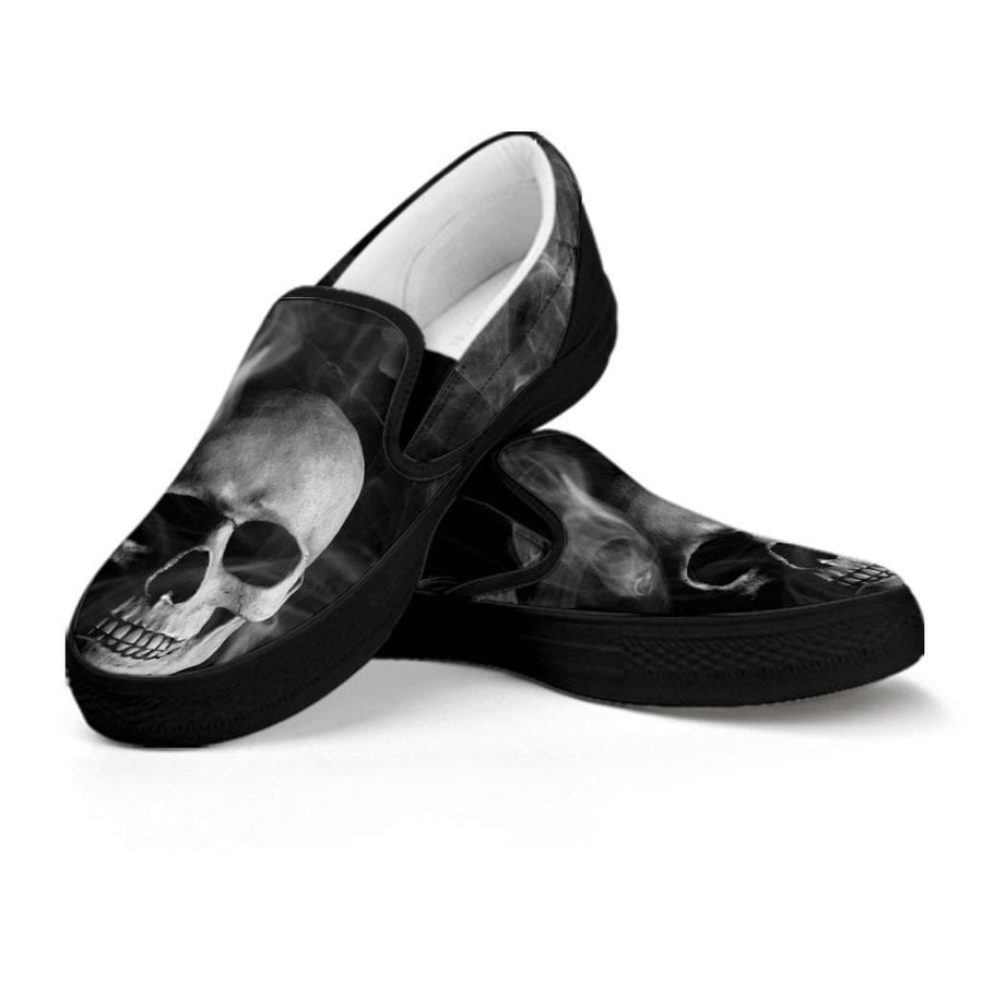 Smoked Skull Slip-On Shoes, Canvas, Black