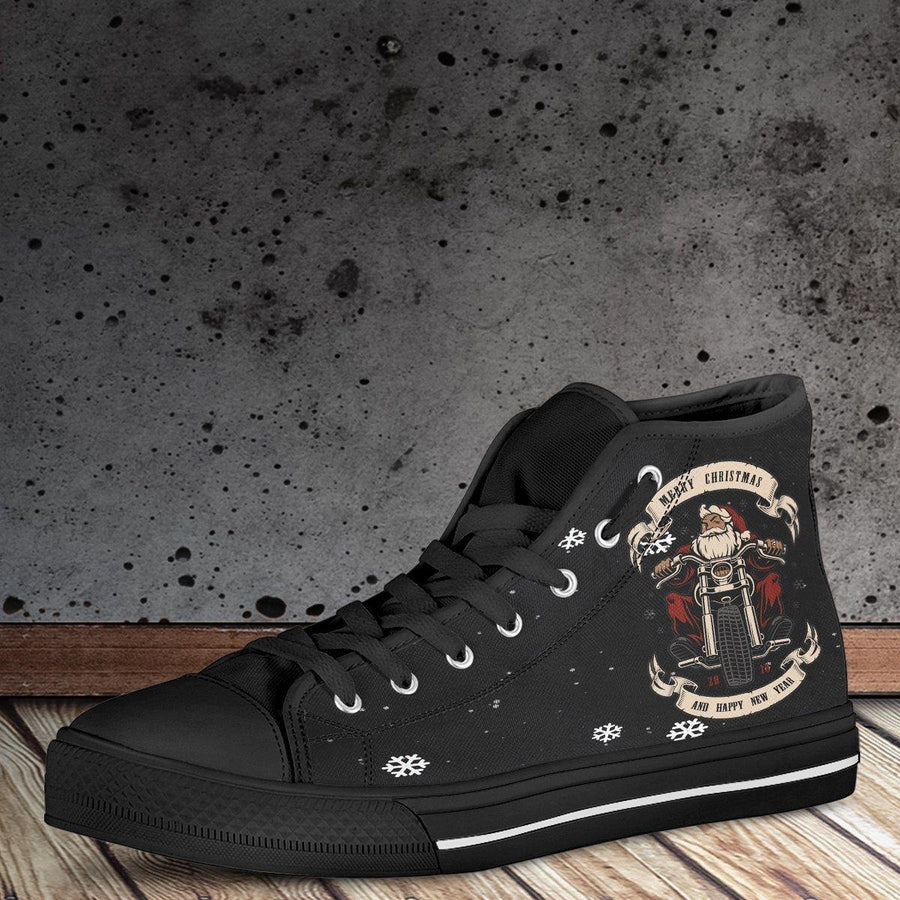 Santa Biker High Top Shoes