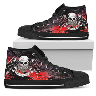 Men's Angel Skull High Top Canvas Shoes, Black - American Legend Rider