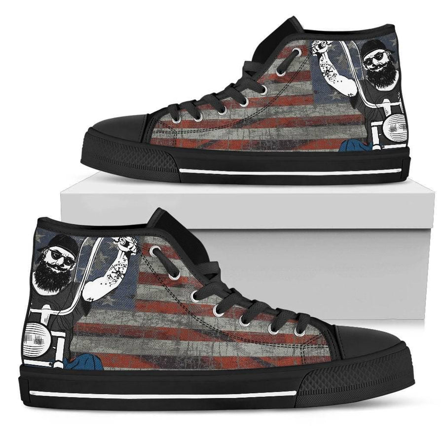 Women's High Top Shoes w/ Biker & USA Flag Print, Canvas