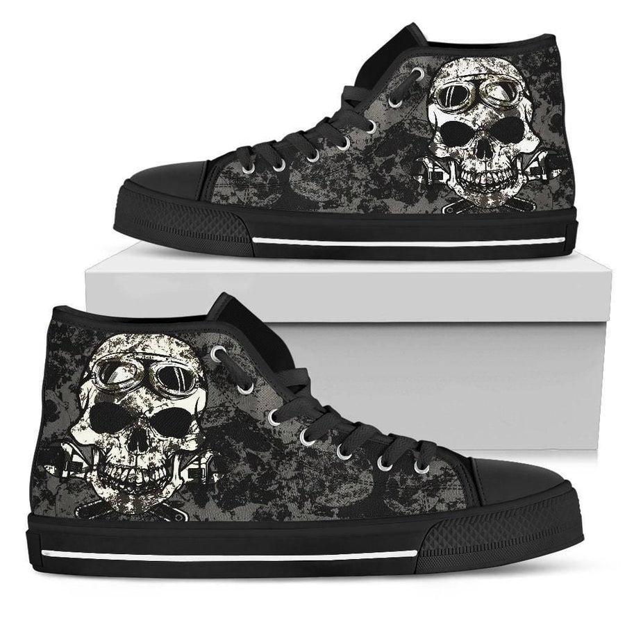 Women's Dirty Skull High Top Shoes