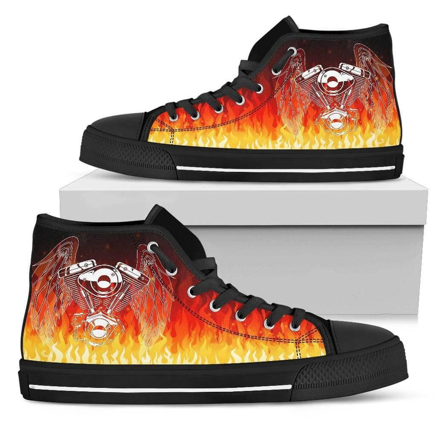 Women's Fire Piston High Top Canvas Shoes, Black/Orange