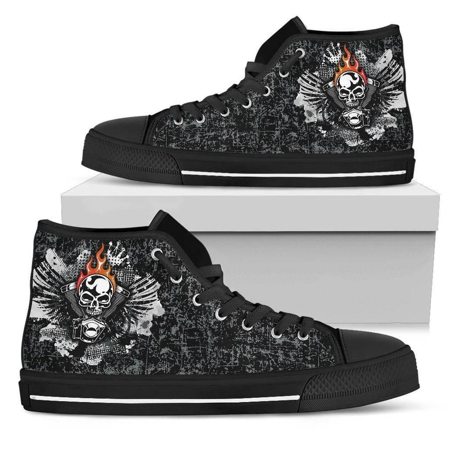 Men's Piston Skull High Top Shoes, Canvas, Black - American Legend Rider