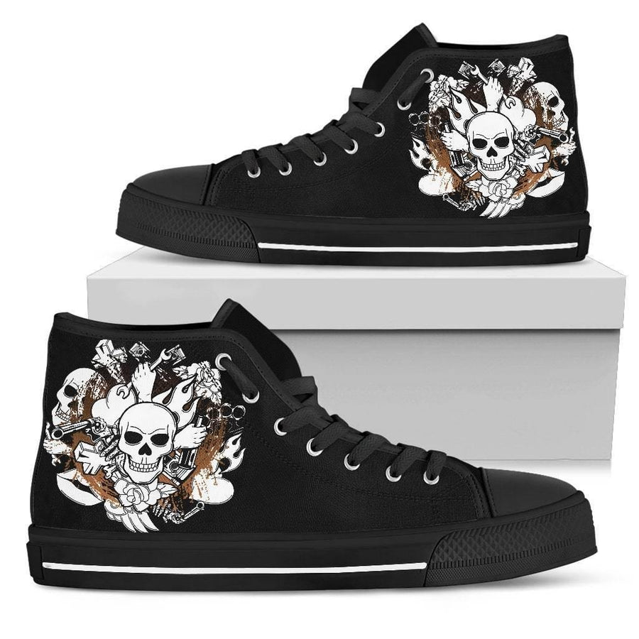 Seamless Skull High Top Shoes - American Legend Rider