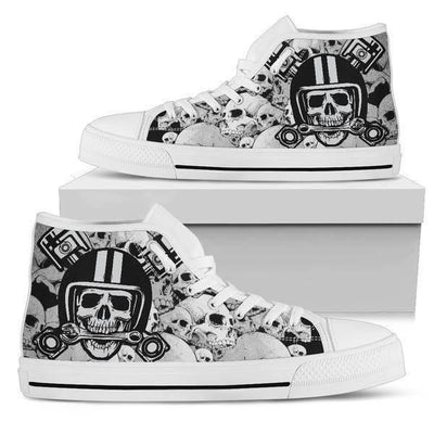 Women's Gothic High Top Canvas Shoes w/ Skulls Print