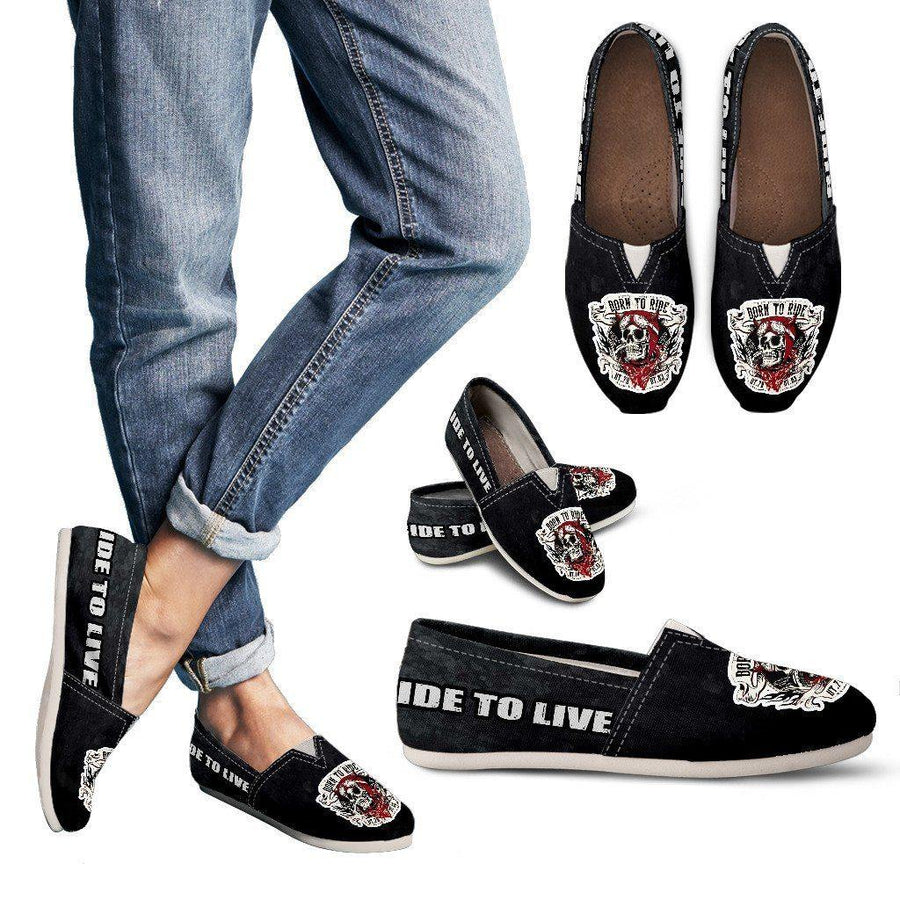 Woman's Born to Ride Casual Slip-On Shoes, Canvas, US 6-12, Black/White