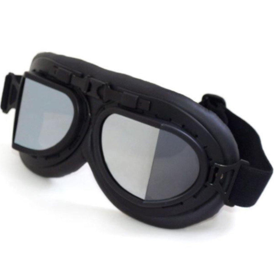 Retro Anti-Fog Motorcycle Goggles, One Size, Black Frame