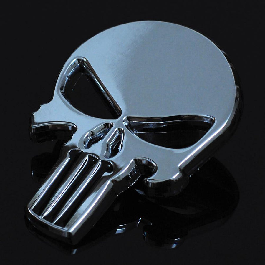 3D Metal Goth Skull Waterproof Decal Sticker, Zinc Alloy, 2.3 x 1.6 in