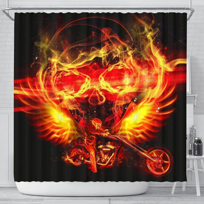 Motorcycle Shower Curtain Firey Skull & Rider on Black Background Print, 70x68 In - American Legend Rider