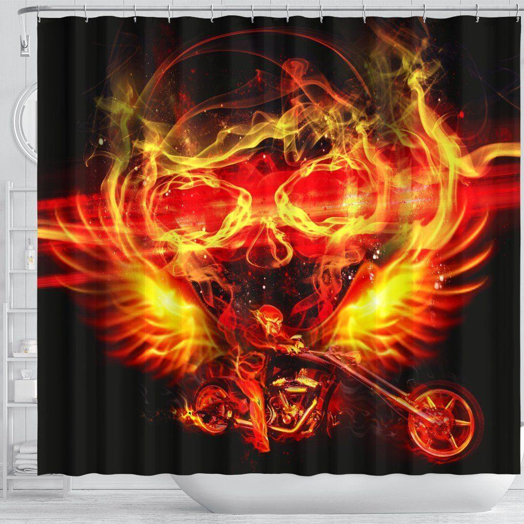 Firing Motorcycle Shower Curtain