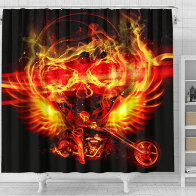 Motorcycle Shower Curtain Firey Skull & Rider on Black Background Print, 70x68 In