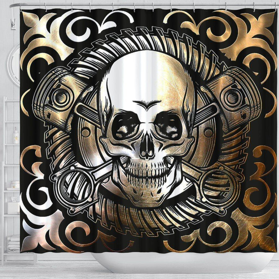 Gothic Skull Shower Curtain, Waterproof Polyester, 70 x 68 In, Black with Skull Print