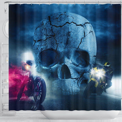 Motorcycle Skull Clash Shower Curtain