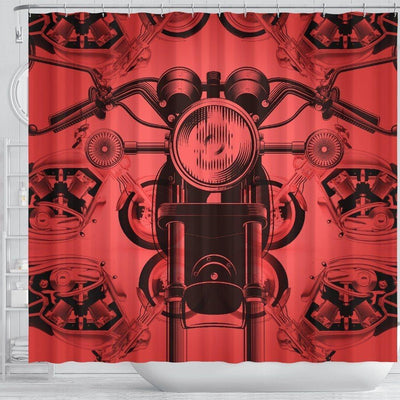 Retro Motorcycle Shower Curtain