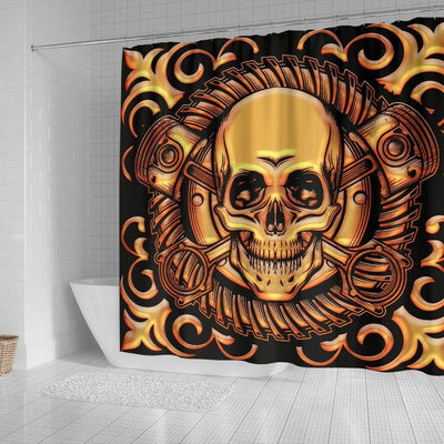 Tribal Skull Shower Curtain, Polyester, 70W x 68L In, Black with Golden Skull Print