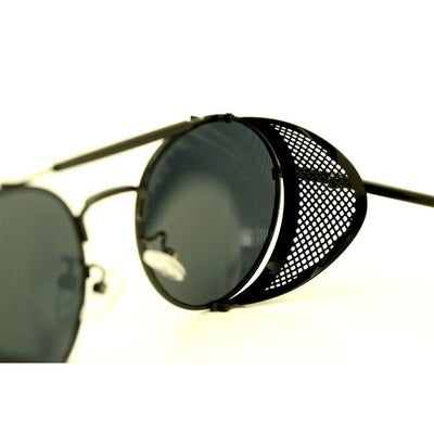 Bikers Retro Round Steampunk Sunglasses w/ Side Shields, Photochromic & Anti-Reflective Lenses, Alloy/Acrylic
