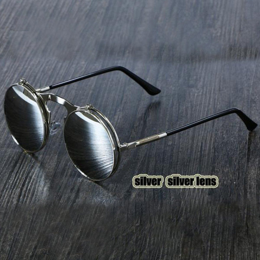 Steampunk Flip-Up Round Double Lens Sunglasses