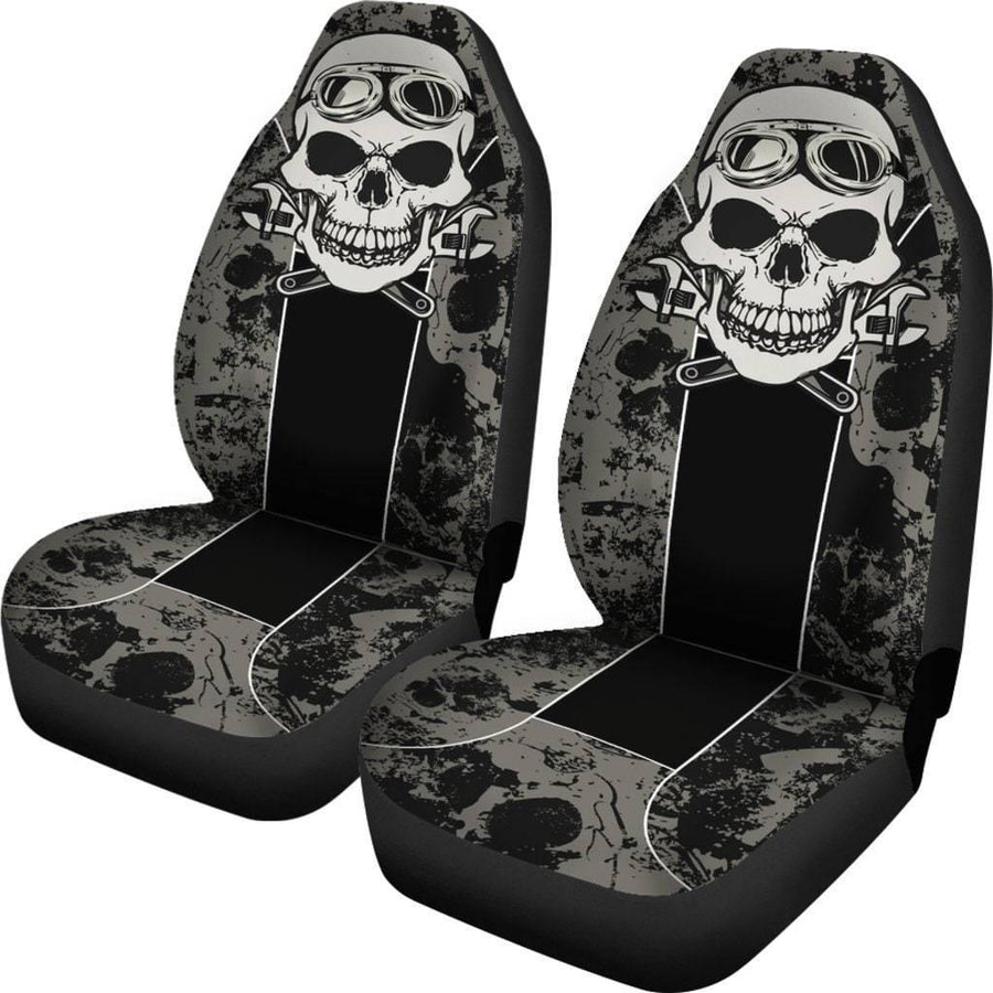 Skull Mechanic Car Seat Covers, Universal Fit, Polyester, Black w/White & Gray Print, Set of 2 - American Legend Rider