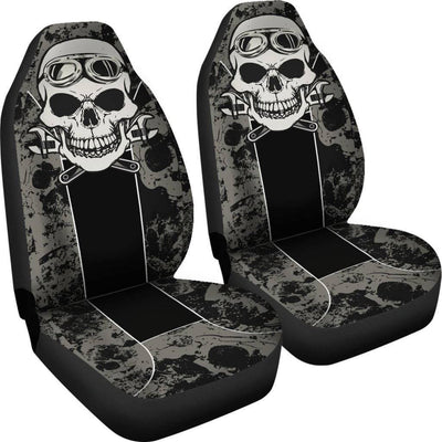 Skull Mechanic Car Seat Covers, Universal Fit, Polyester, Black w/White & Gray Print, Set of 2