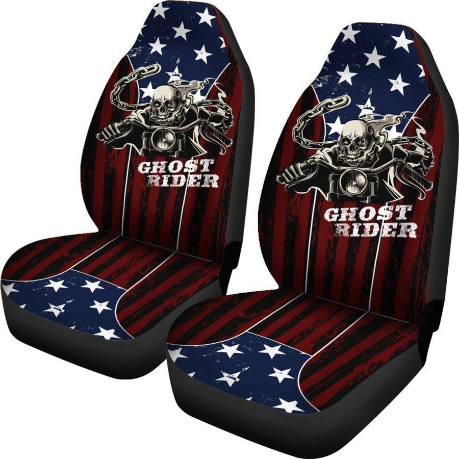 Ghost Rider Car Seat Covers, Polyester, Universal Fit, American Flag Background, Set of 2 - American Legend Rider