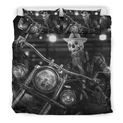 Skeleton Rider Bedding Set, Polyester, Size Single-Twin-Queen-King, Black & White Print