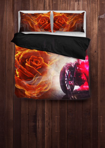 Flaming Motorbike Bedding Set