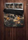 Galaxy Skull Bedding Set (1 Duvet Cover, 2 Pillowcases), Brushed Polyester, Black/Gray/Orange - American Legend Rider