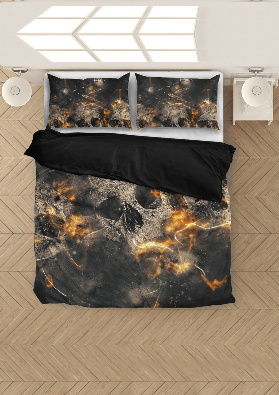 Galaxy Skull Bedding Set (1 Duvet Cover, 2 Pillowcases), Brushed Polyester, Black/Gray/Orange