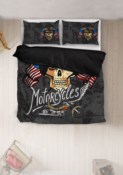 Motorcycles Skull Bedding Set