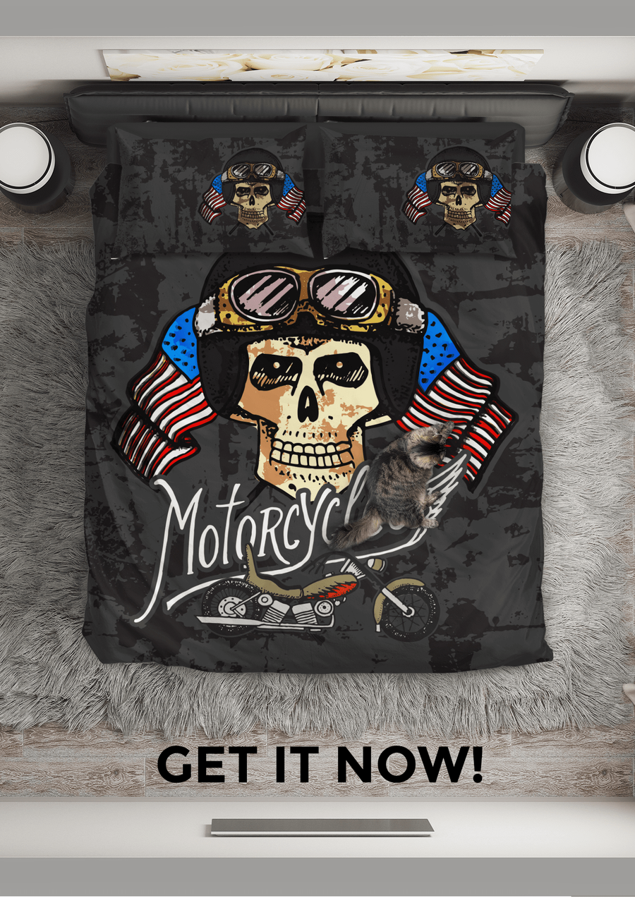 Motorcycles Skull Bedding Set - American Legend Rider