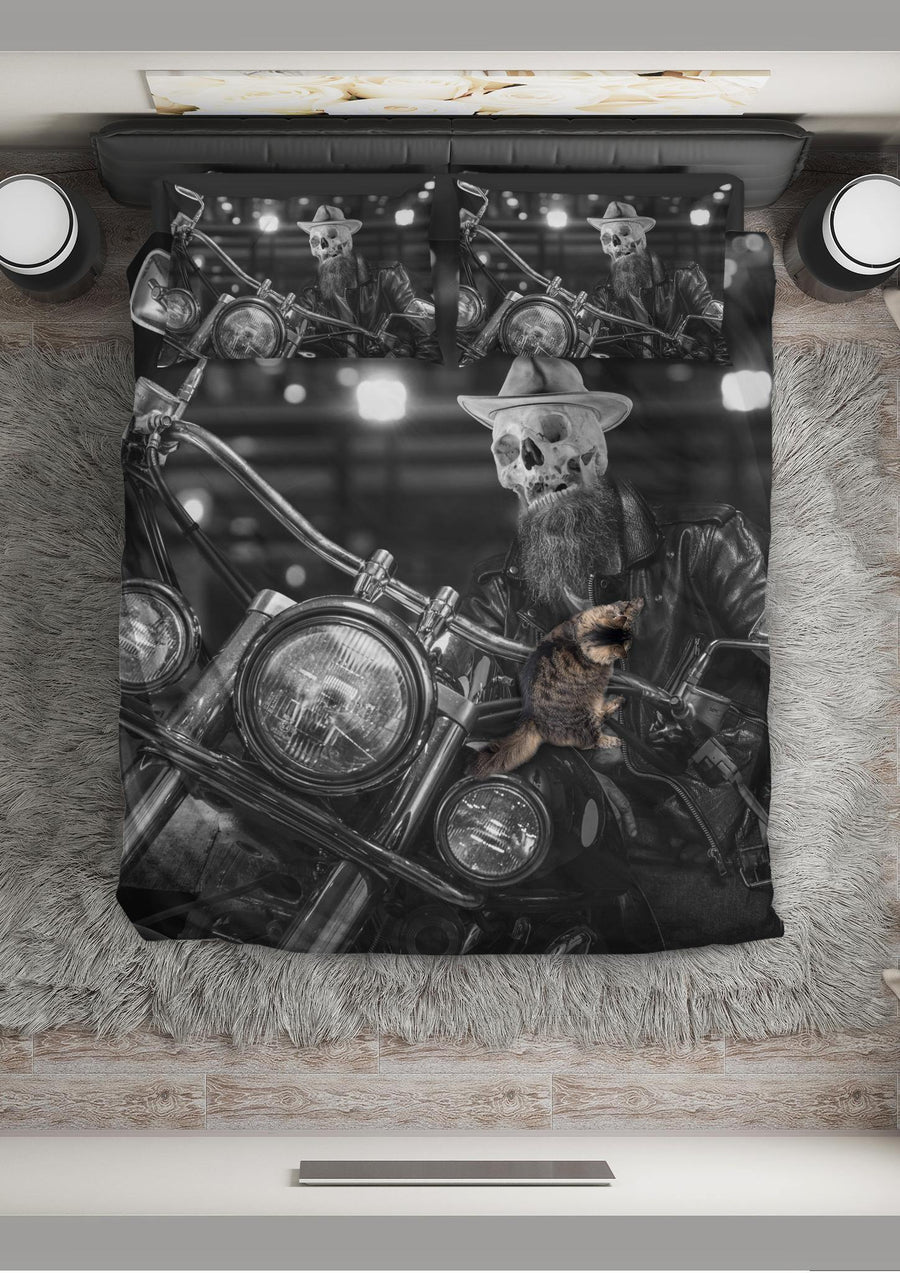 Skeleton Rider Bedding Set, Polyester, Size Single-Twin-Queen-King, Black & White Print - American Legend Rider