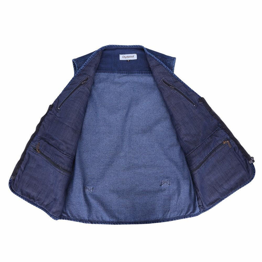 Casual Denim Vest w/ Many Pockets, Blue