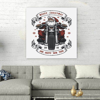 Santa Biker Square Wall Art
