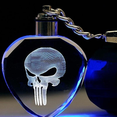 The Punisher Led Keychain, Unisex, Zinc Alloy Silver Plated, Different Color Lights