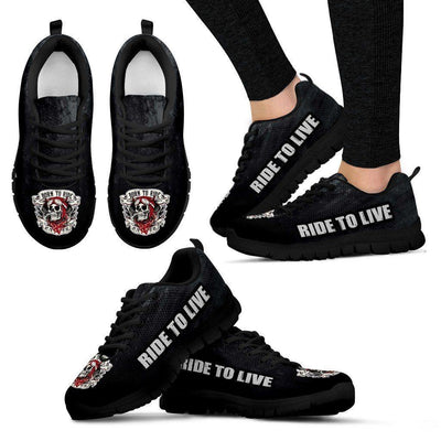 """Born To Ride"" Sneakers, Unisex, EVA Sole, Mesh Fabric, Size US 5-14, Black"