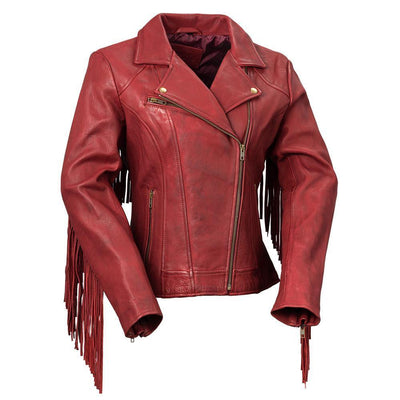 First Manufacturing Daisy - Women's Fringe Motorcycle Leather Jacket - American Legend Rider